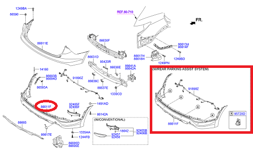 نیمه پایین سپر عقب هیوندای سانتافه GENUINE - IX45