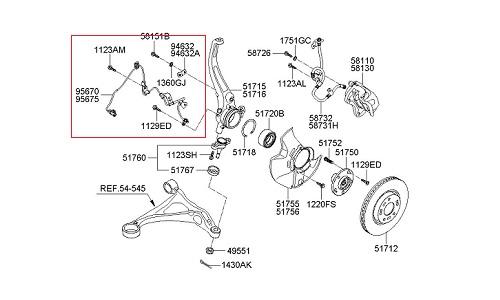 سنسور ABS جلو چپ هیوندای