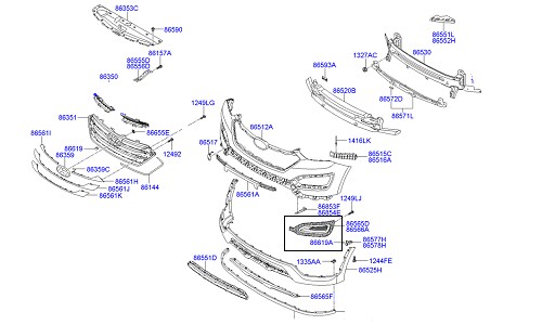 قاب پروژکتور راست هیوندای سانتافه GENUINE - IX45